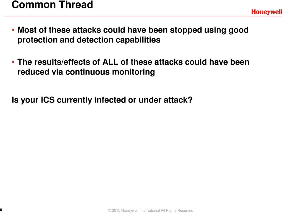 attacks could have been reduced via continuous monitoring Is your ICS
