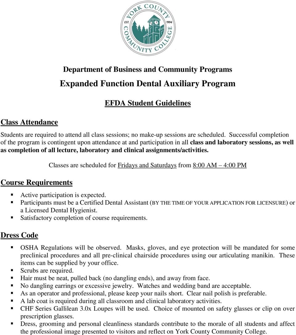 Expanded Function Dental Auxiliary Program Fall Pdf