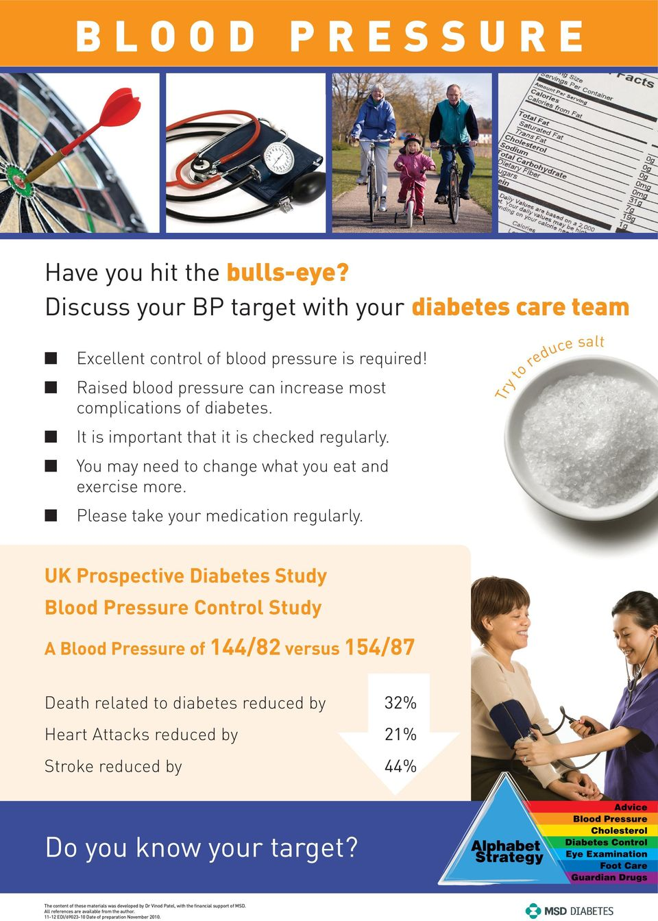 UK Prospective Diabetes Study Blood Pressure Control Study A Blood Pressure of 144/82 versus 154/87 Death related to diabetes reduced by 32% Heart