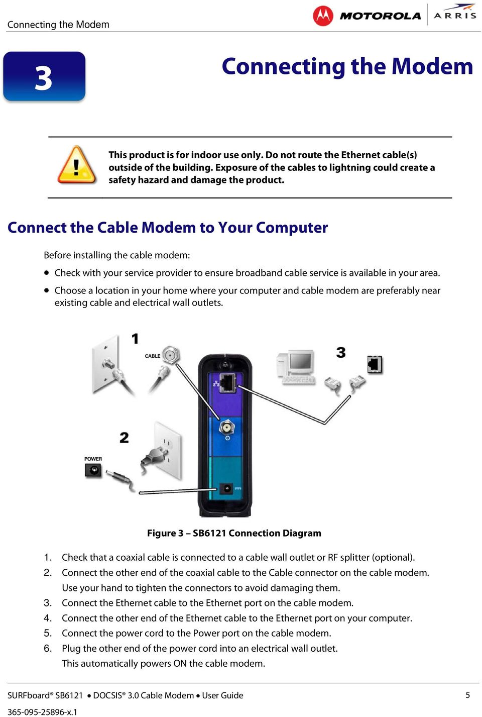 User Guide Surfboard Sb6121 Docsis 30 Cable Modem Pdf To Ethernet Wiring Diagram Connect The Your Computer Before Installing Check With