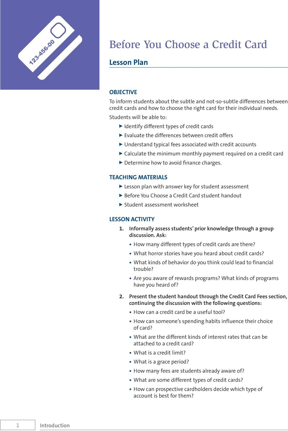 Money Math for Teens. Before You Choose a Credit Card - PDF