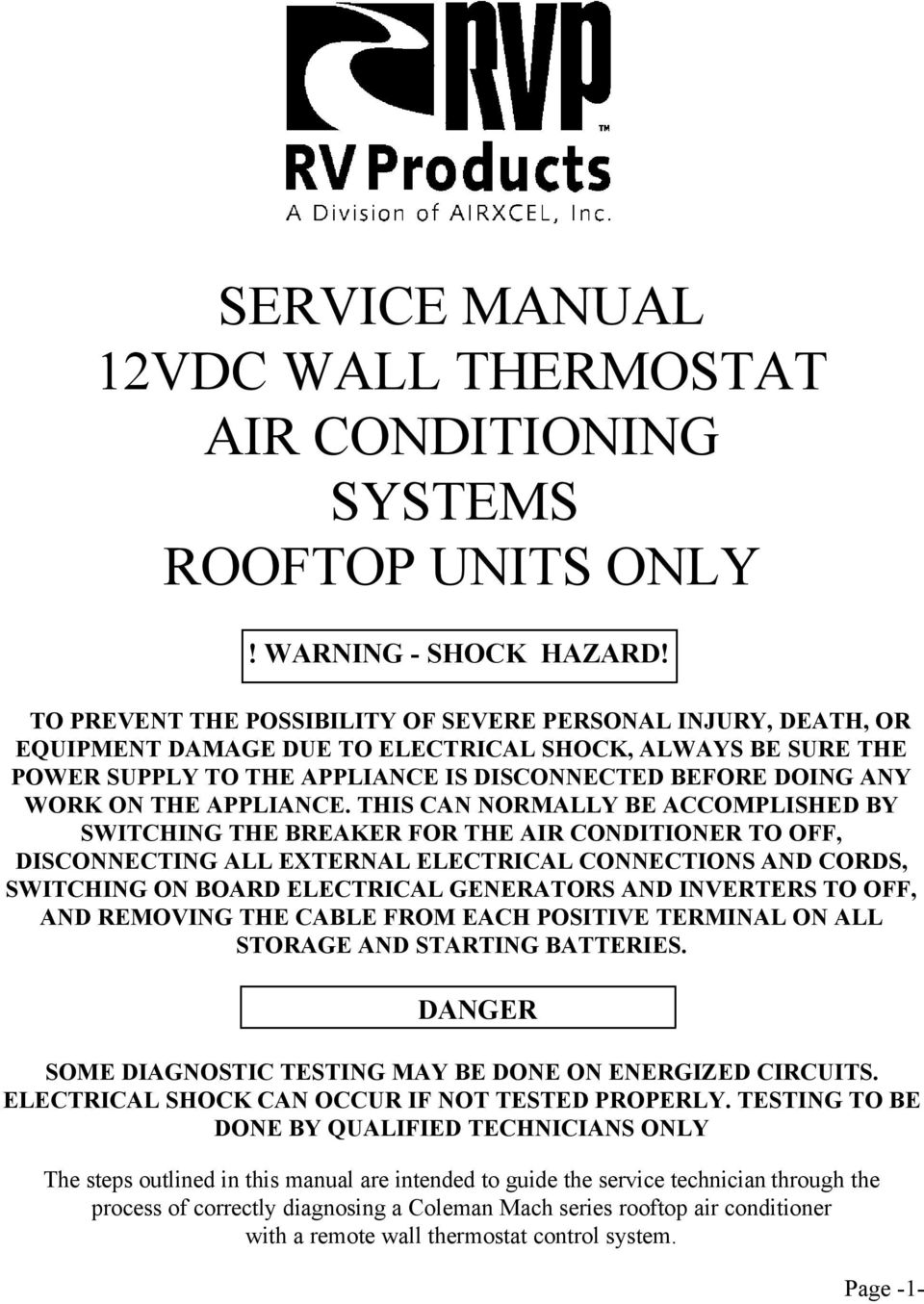 SERVICE MANUAL 12VDC WALL THERMOSTAT AIR CONDITIONING
