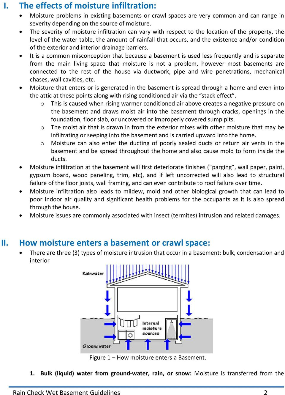 Guidelines For Inspecting Moisture Infiltration In Basements Crawl