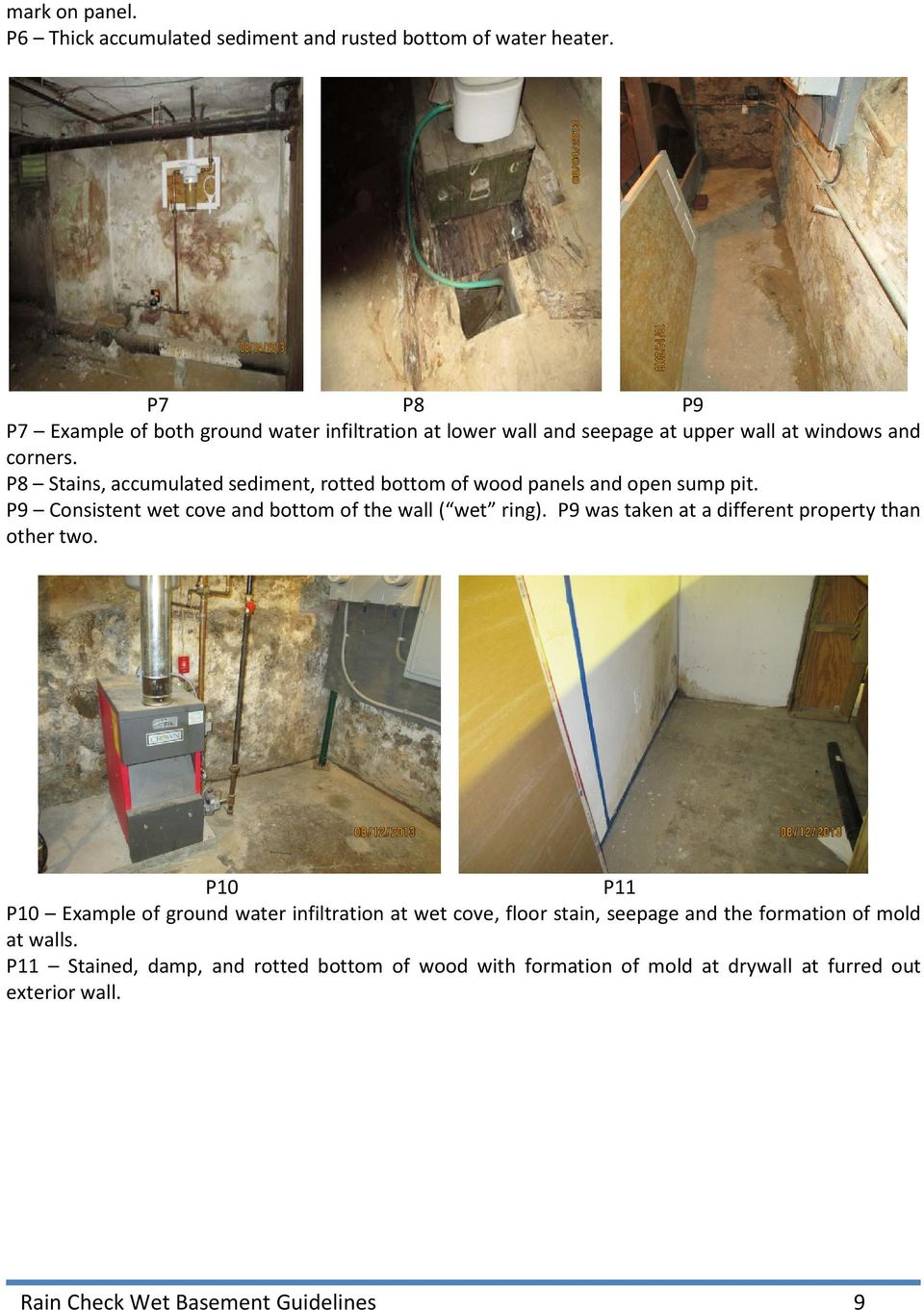 GUIDELINES FOR INSPECTING MOISTURE INFILTRATION IN BASEMENTS & CRAWL