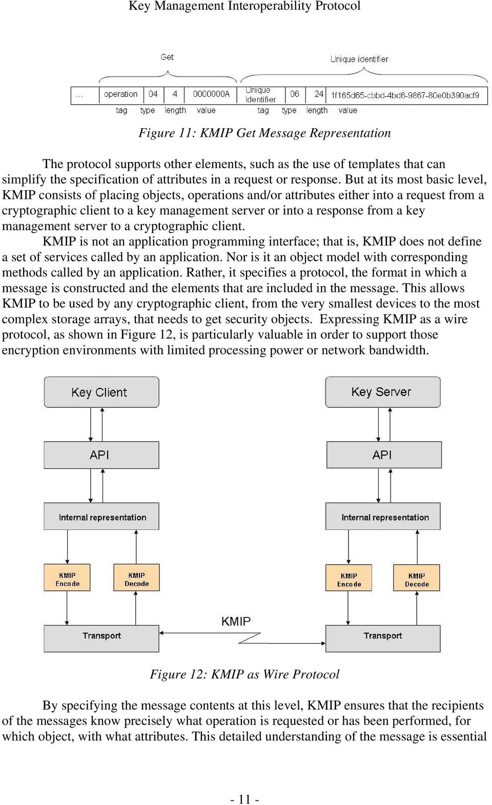 management server to a cryptographic client. KMIP is not an application programming interface; that is, KMIP does not define a set of services called by an application.