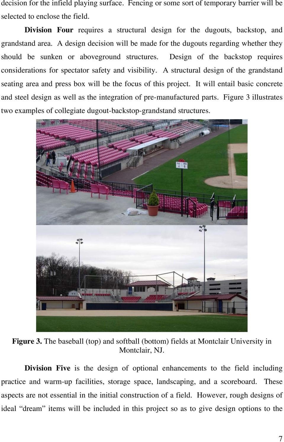 Project Proposal Field Design For Swarthmore College Softball