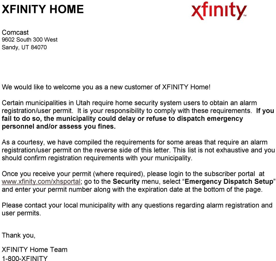 We would like to welcome you as a new customer of XFINITY Home! - PDF