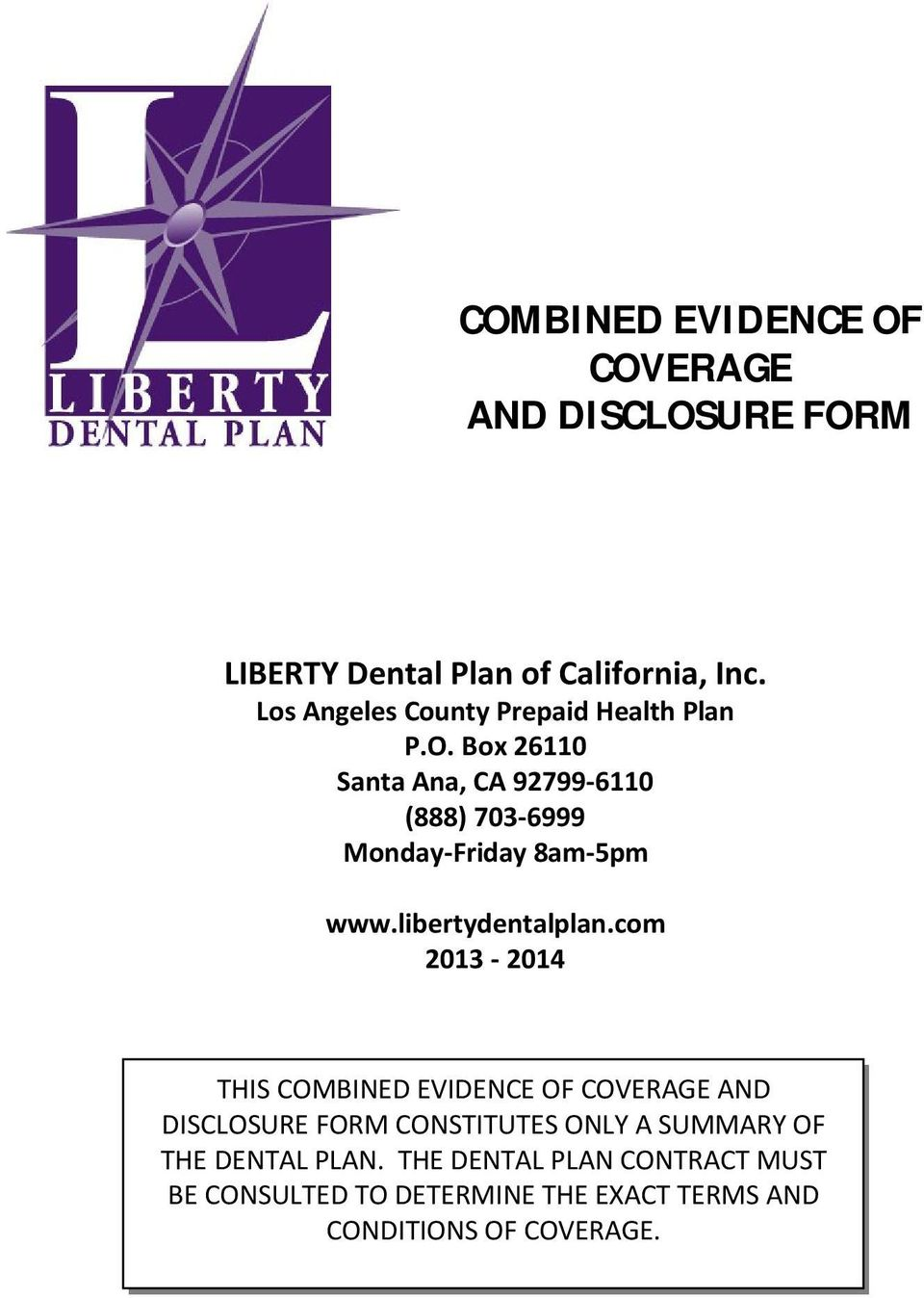 COMBINED EVIDENCE OF COVERAGE AND DISCLOSURE FORM - PDF