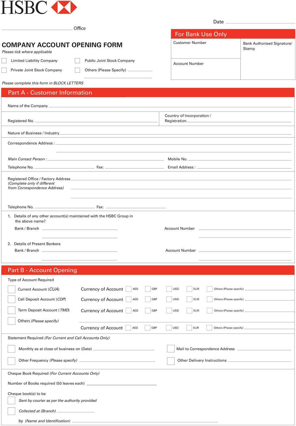Company Account Opening Form - PDF