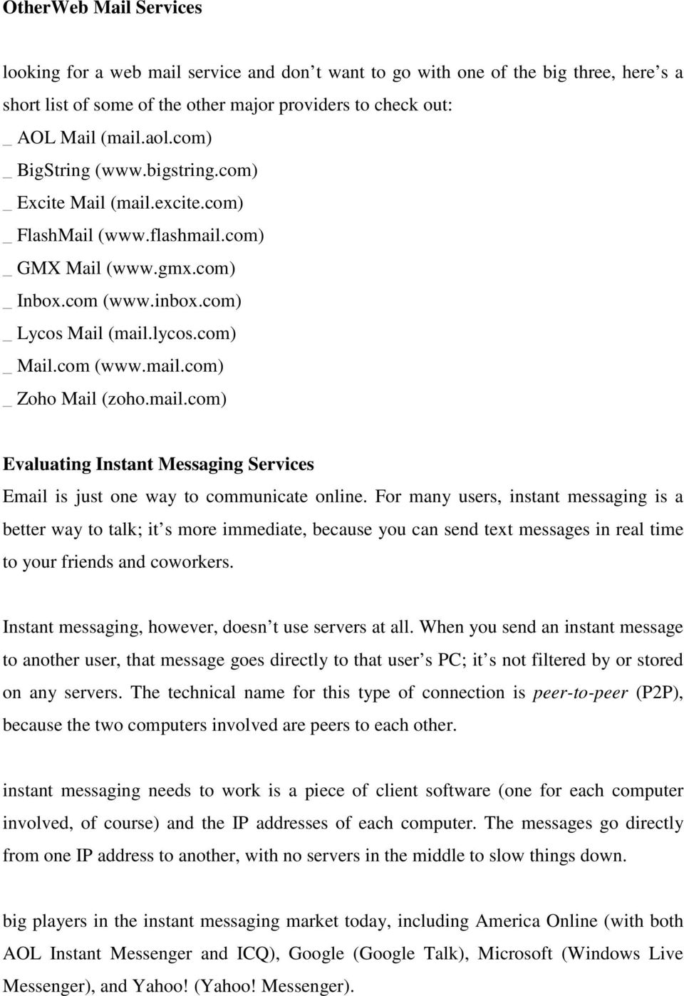 Unit 4 Evaluating Web Mail Services Pdf Free Download