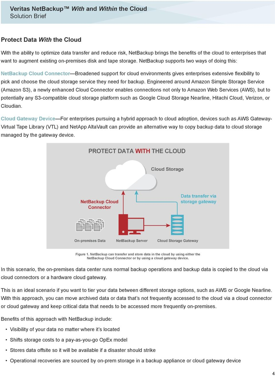 NetBackup supports two ways of doing this: NetBackup Cloud Connector Broadened support for cloud environments gives enterprises extensive flexibility to pick and choose the cloud storage service they