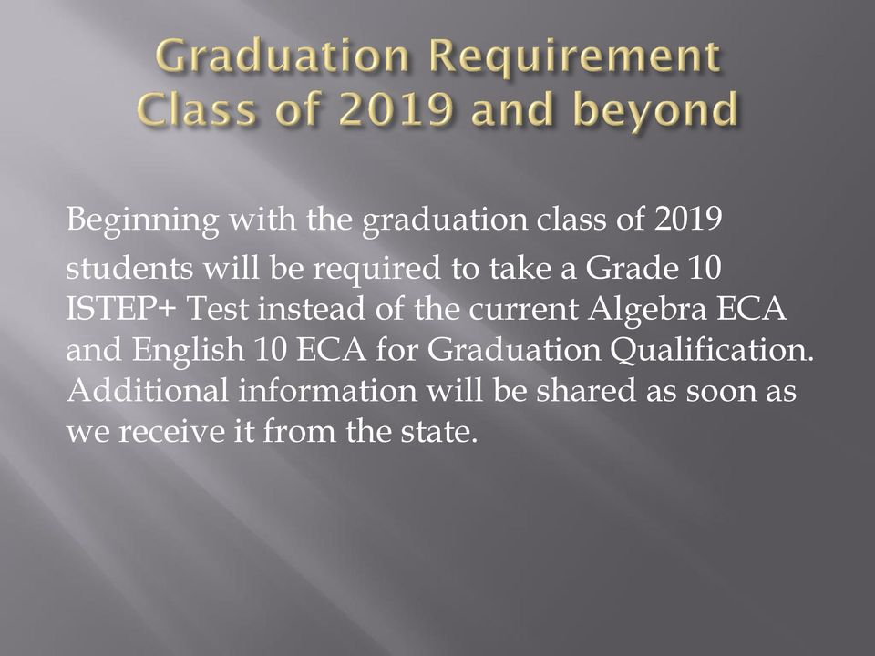 Algebra ECA and English 10 ECA for Graduation Qualification.