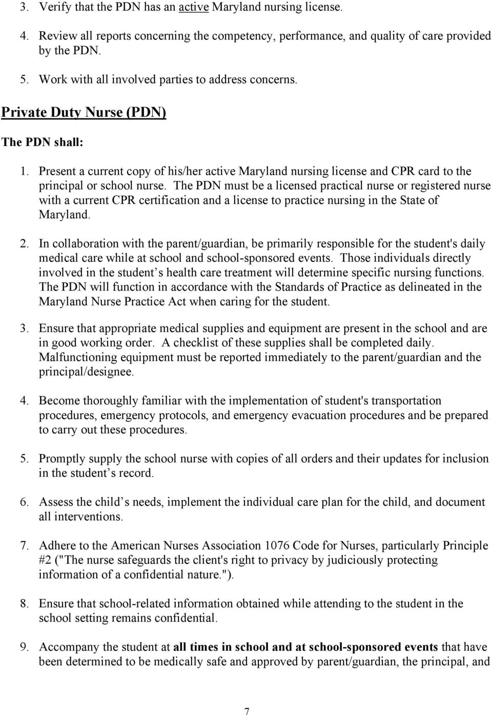 Maryland State School Health Services Guidelines Model Policy For