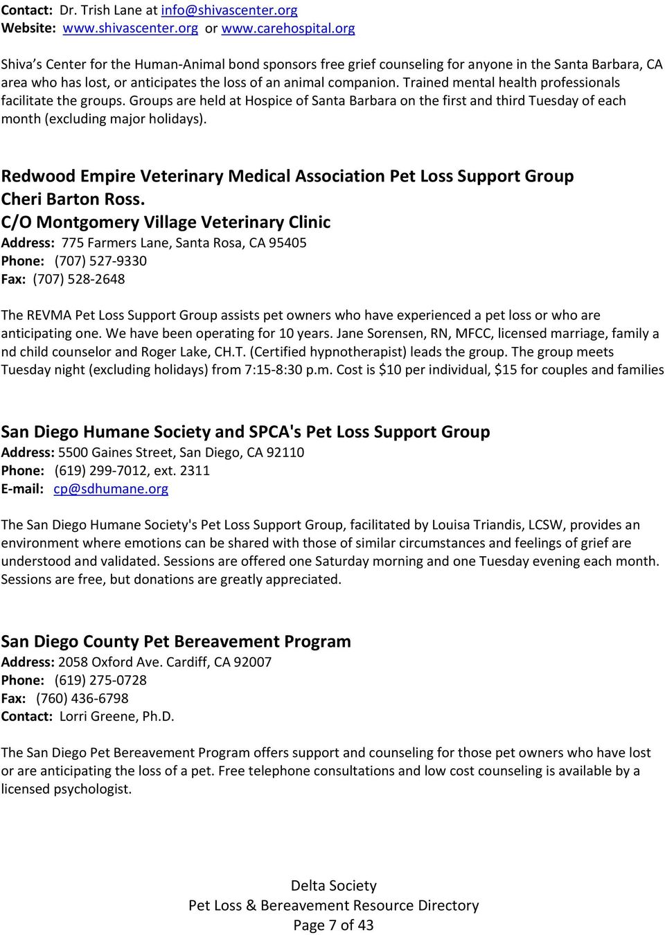 Pet Loss Bereavement Directory Counselors Support Groups Pdf