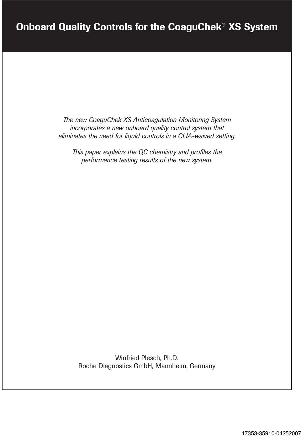 Onboard Quality Controls for the CoaguChek XS System - PDF