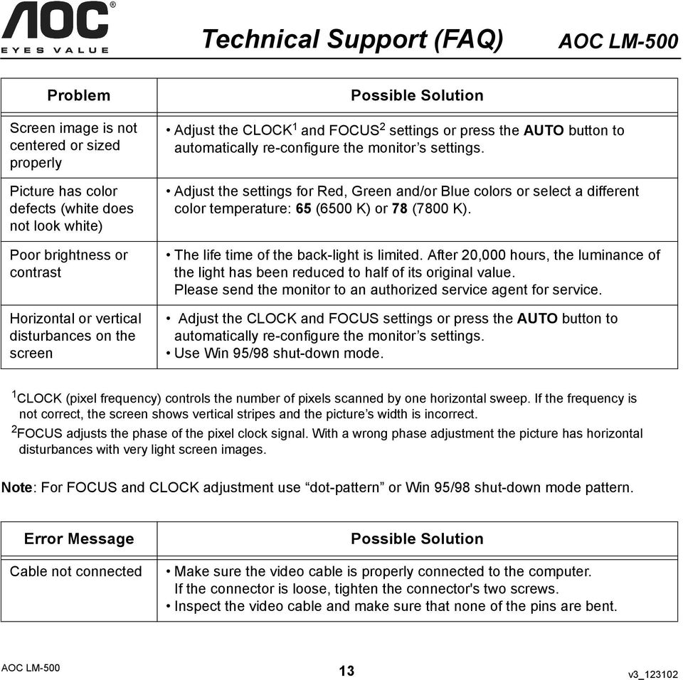 User s Manual AOC LM-500 AOC LM inch TFT LCD Monitor  by