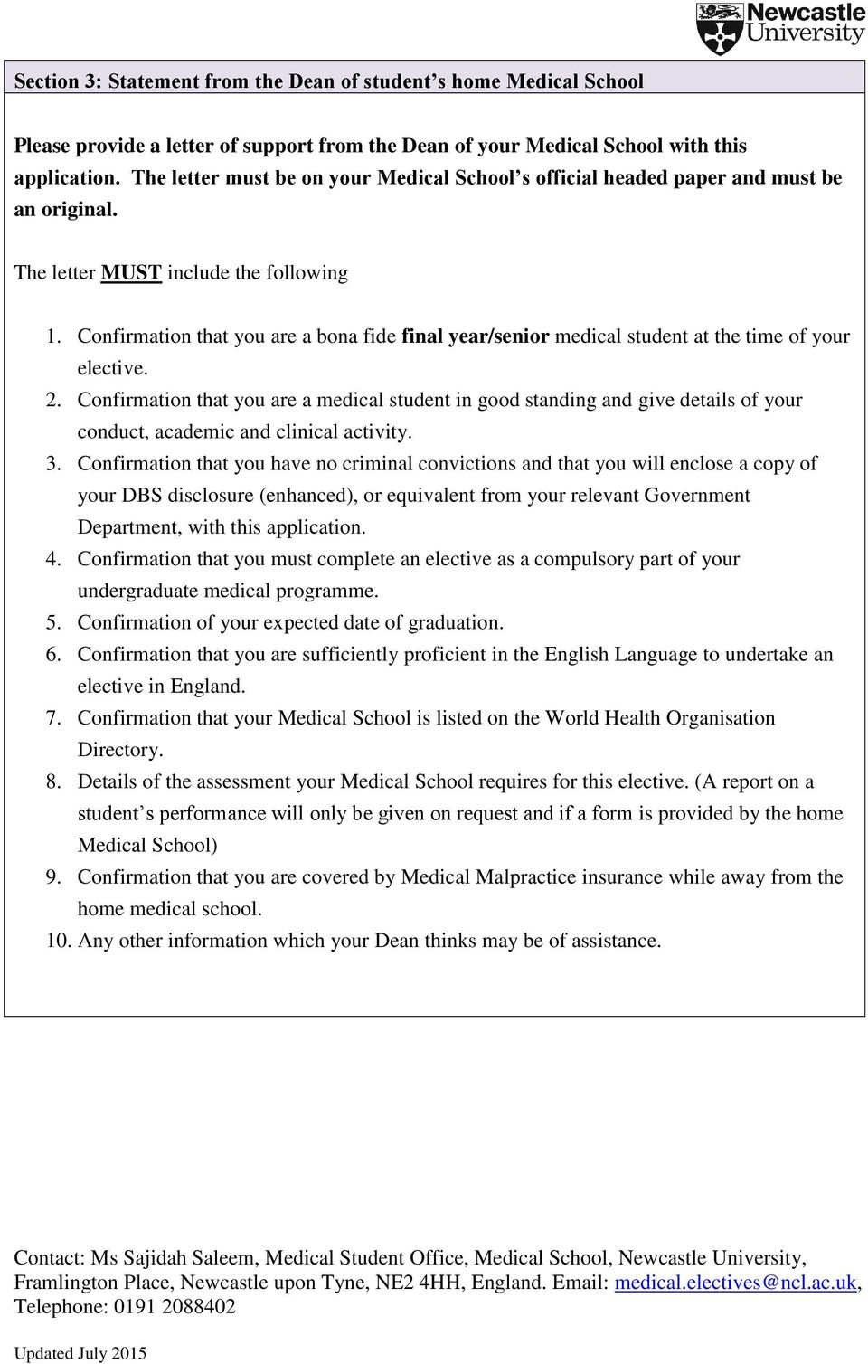 Incoming Medical Elective Application Form - PDF