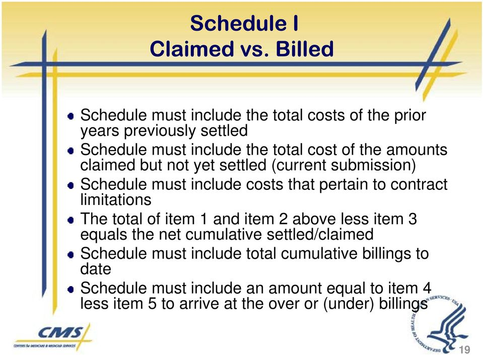 amounts claimed but not yet settled (current submission) Schedule must include costs that pertain to contract limitations The