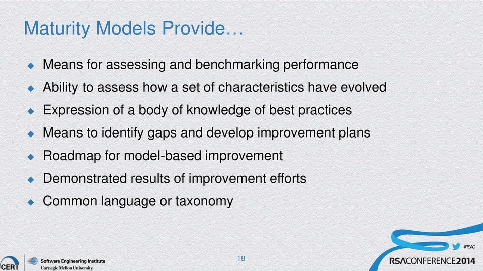best practices Means to identify gaps and develop improvement plans Roadmap for