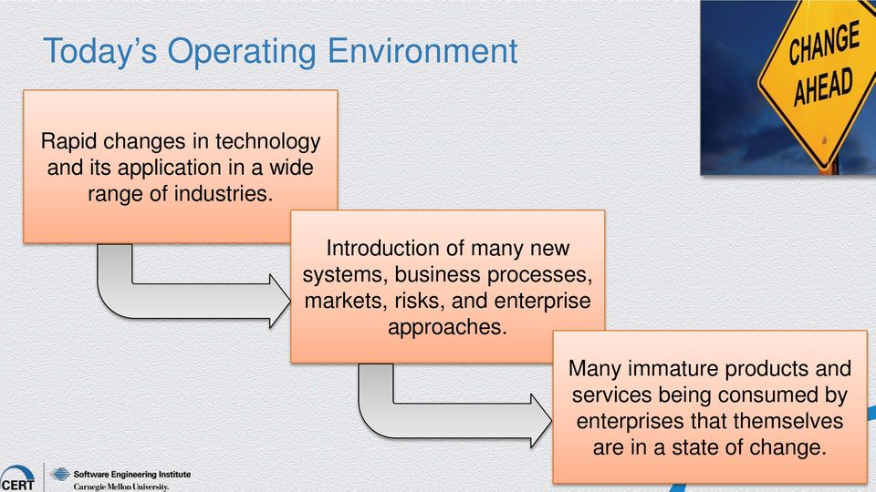 Introduction of many new systems, business processes, markets, risks, and
