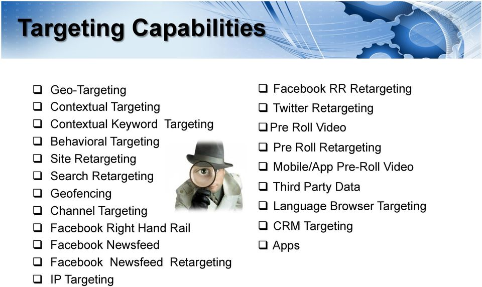 Facebook Newsfeed! Facebook Newsfeed Retargeting! IP Targeting! Facebook RR Retargeting! Twitter Retargeting!