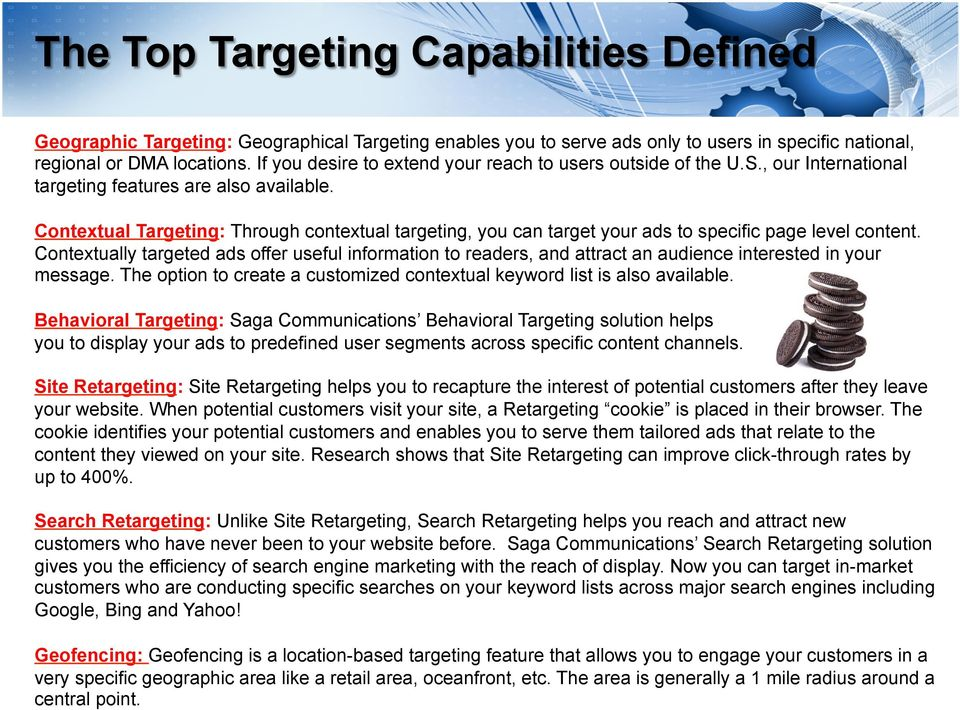 Contextual Targeting: Through contextual targeting, you can target your ads to specific page level content.