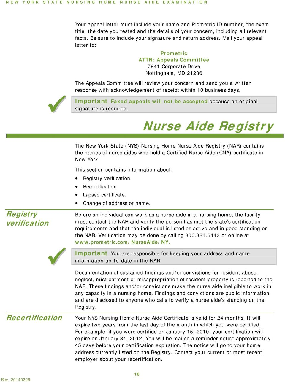 New York Nursing Home Nurse Aide Certification Handbook Department