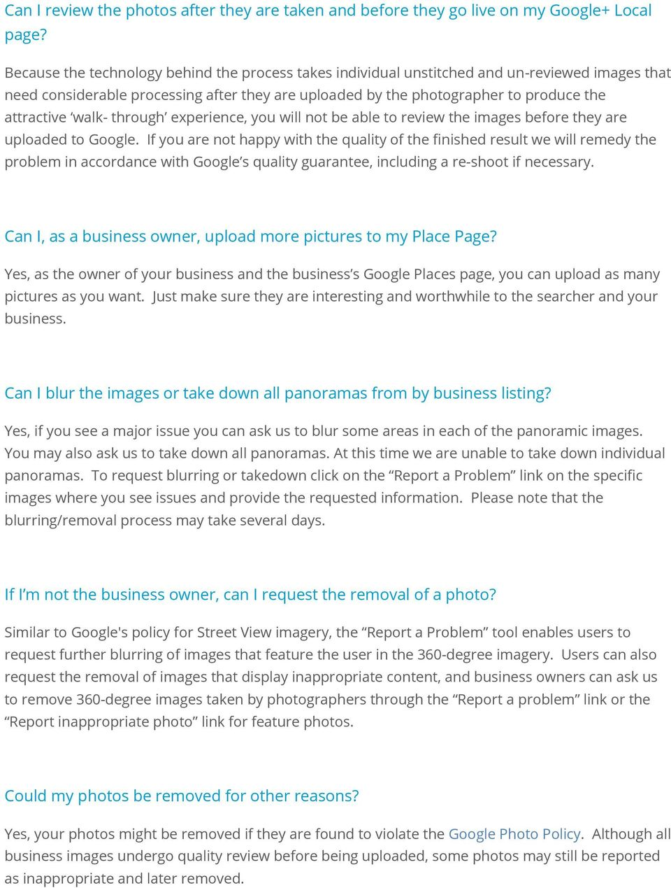Google Maps Business View FAQ - PDF