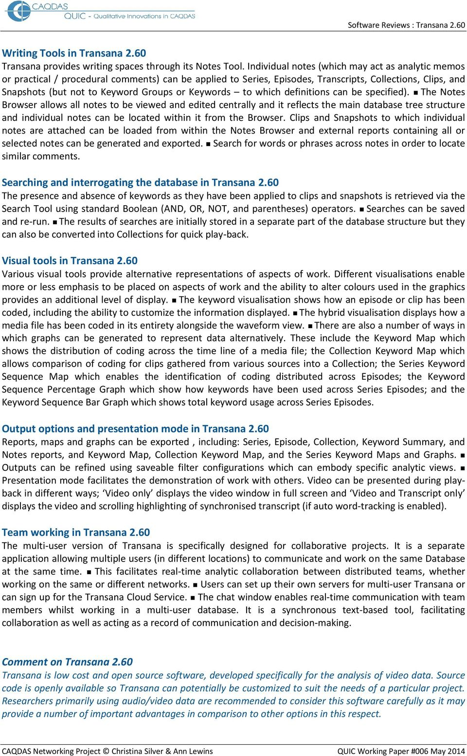 Transana 2 60 Distinguishing features and functions - PDF