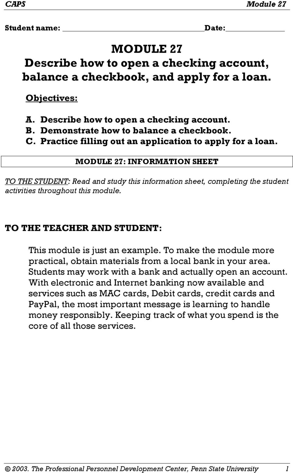 module 27 describe how to open a checking account balance a