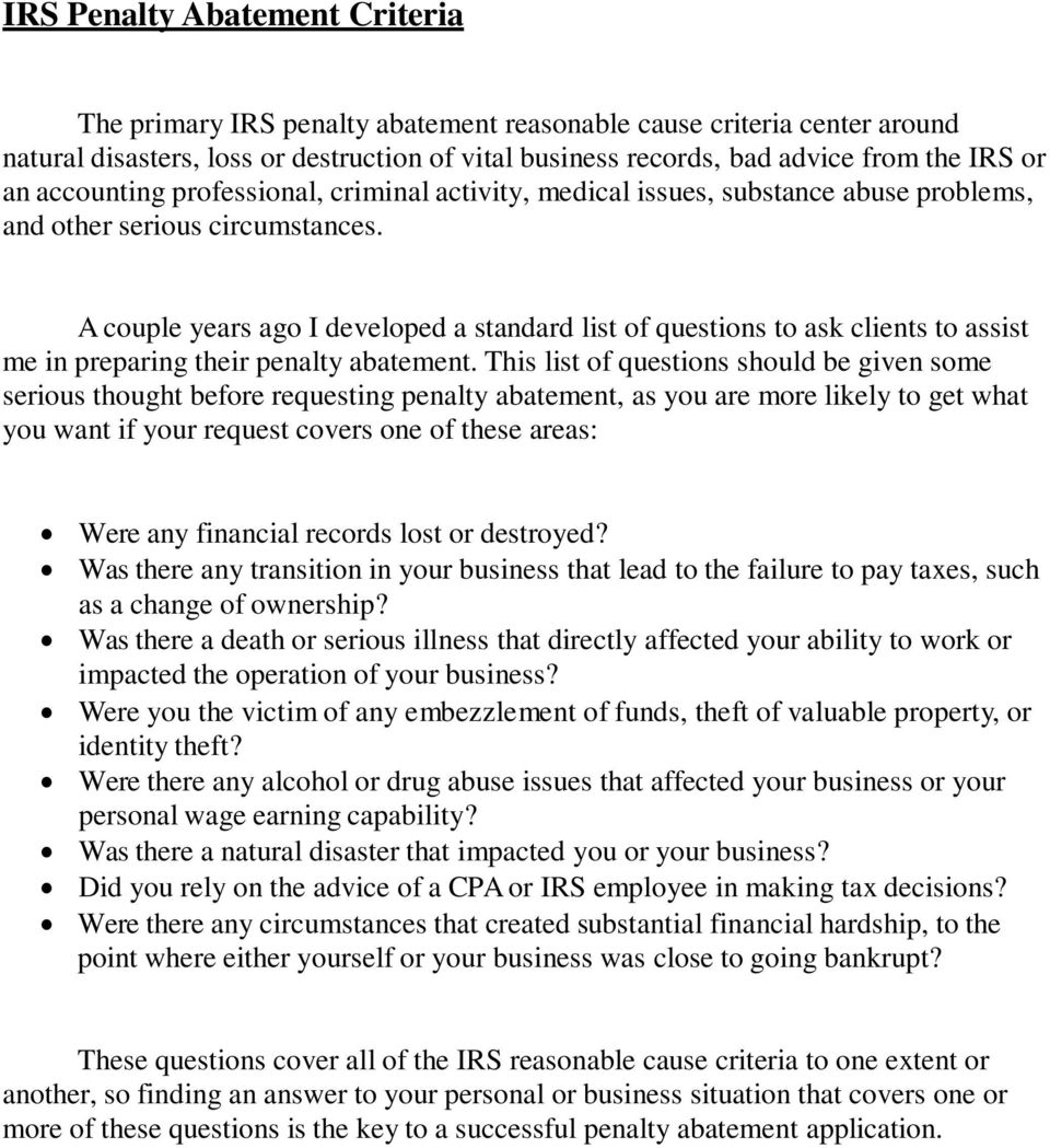 IRS Penalty Abatement Letters. Quick Start Guide & Appeals Manual - PDF