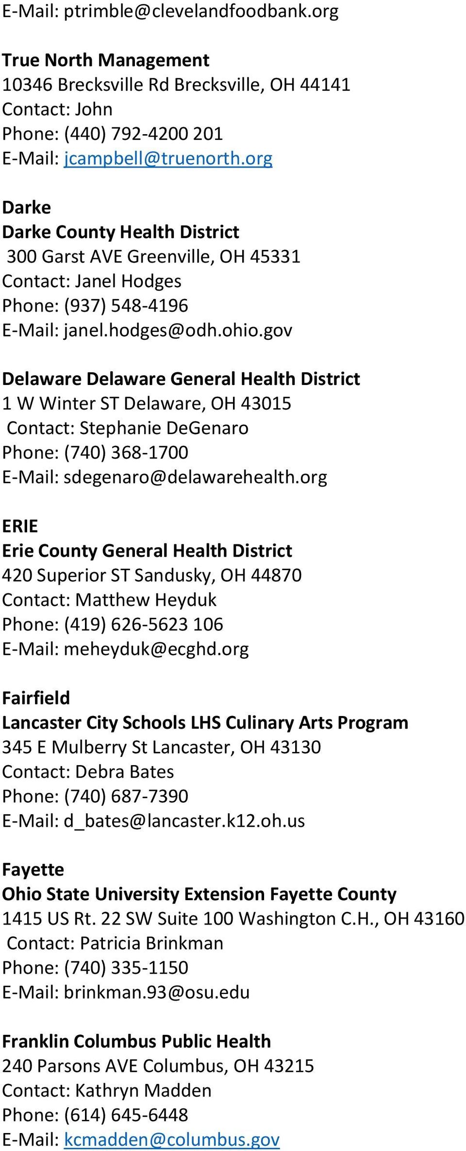 Ohio Department Of Health S Approved Provider List For Food