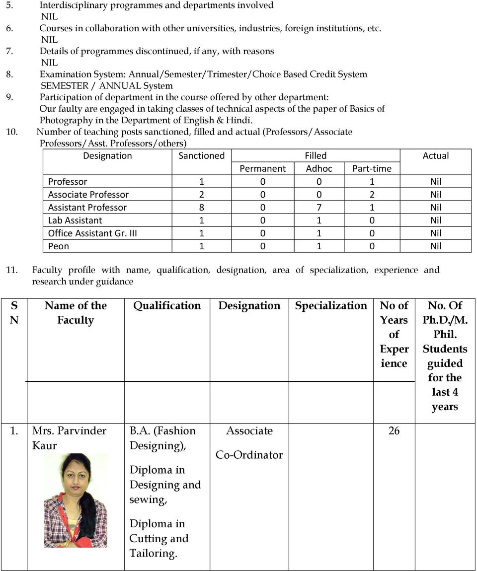 1 Name Of The Department Mats School Of Fashion Designing And Technology Pdf Free Download
