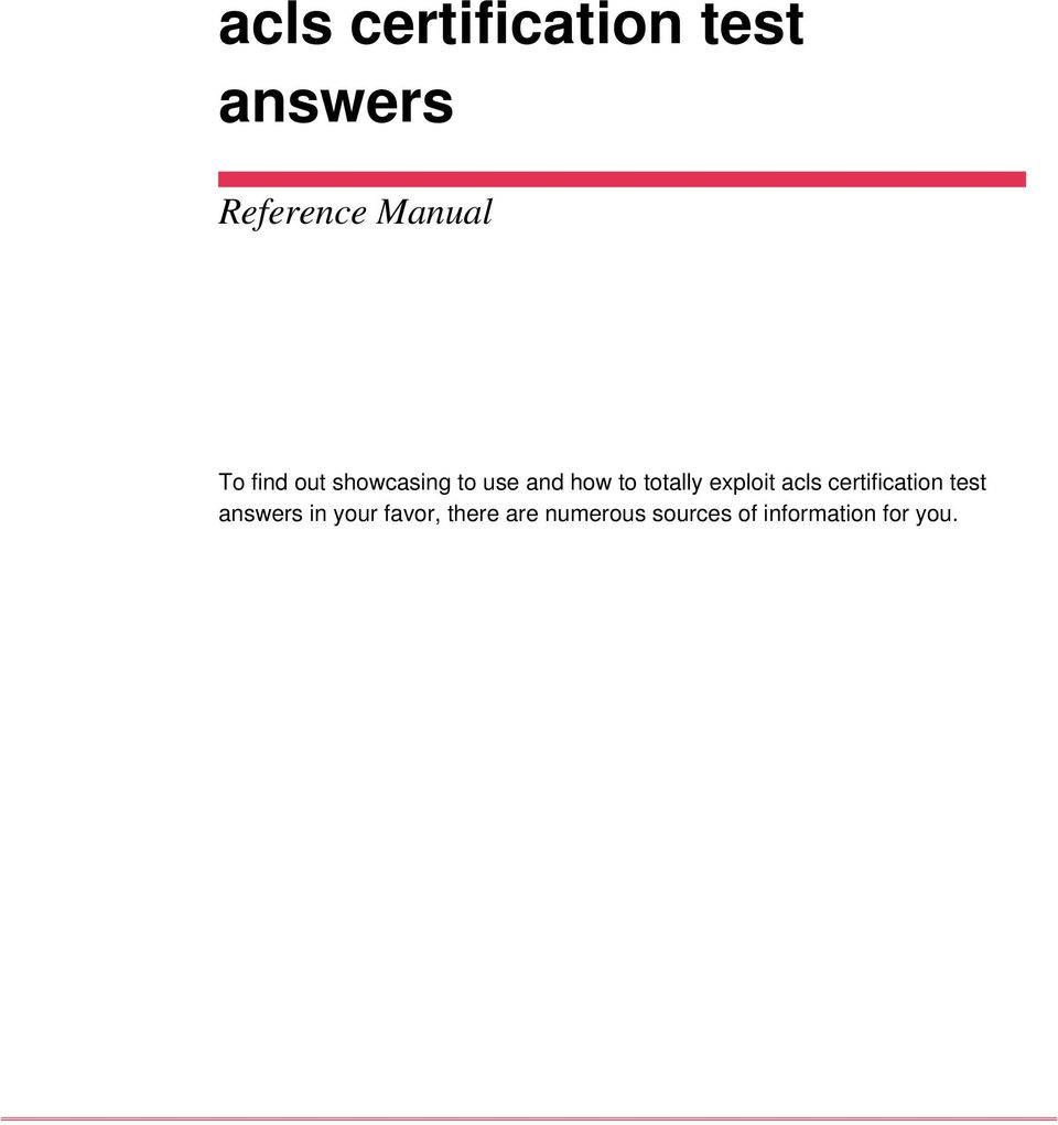 Acls Certification Test Answers Pdf