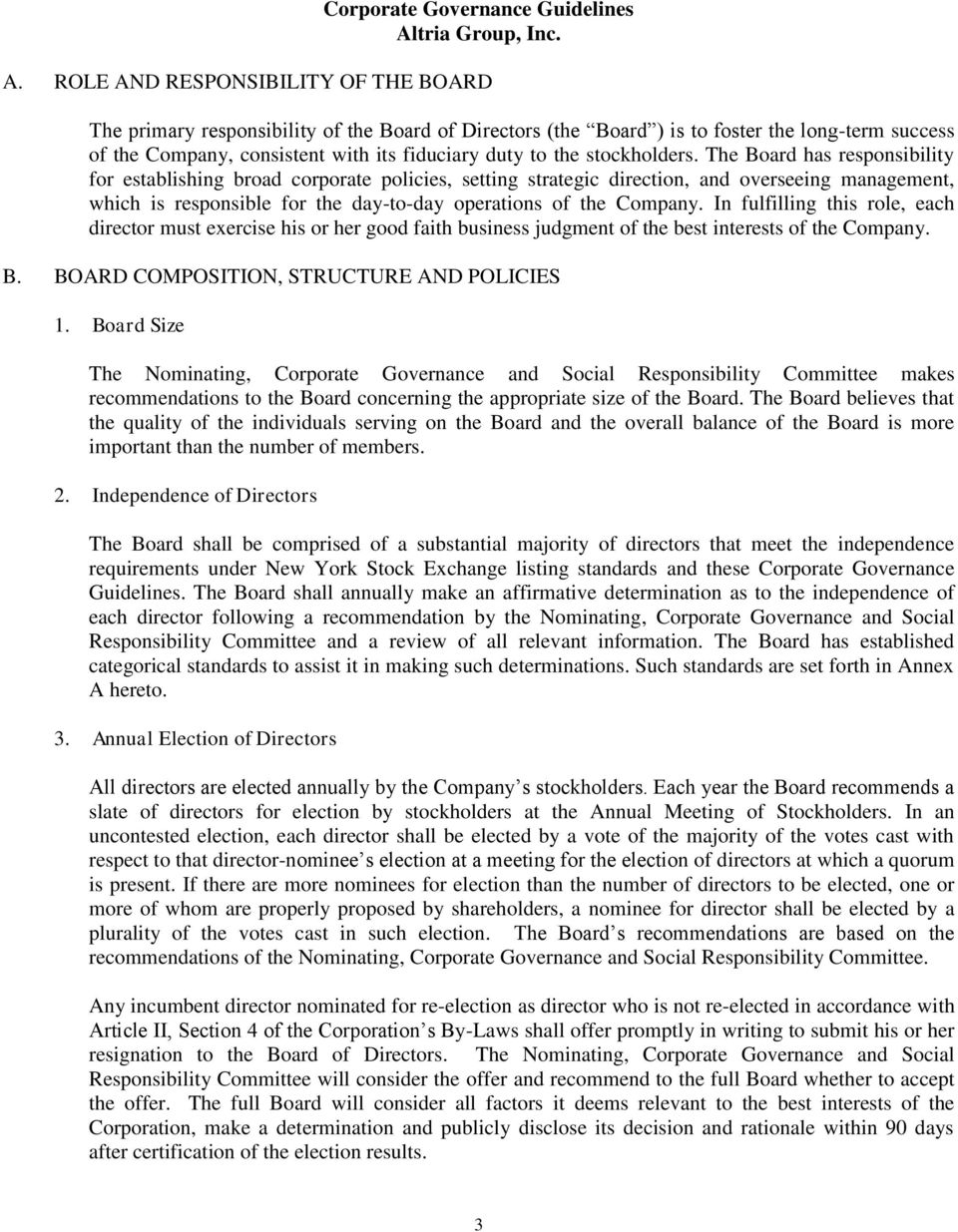 Corporate Governance Guidelines Altria Group, Inc  - PDF