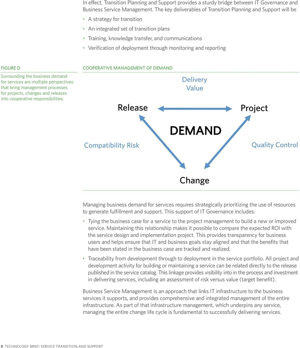 deployment through monitoring and reporting FIGURE D Surrounding the business demand for services are multiple perspectives that bring management processes for projects, changes and releases into