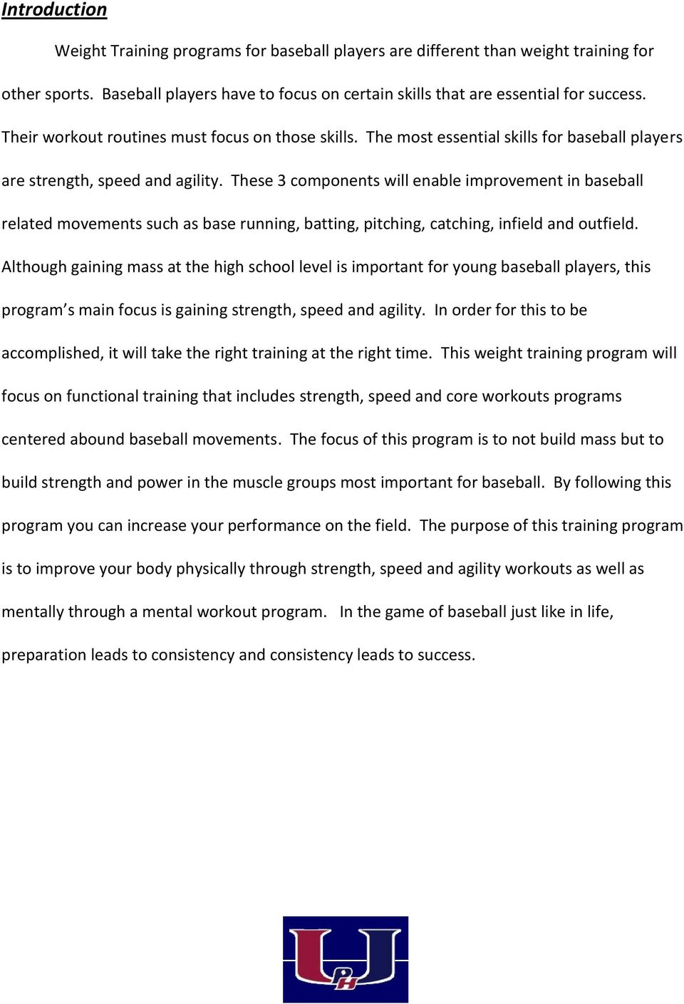 Palm Harbor University High School Baseball Strength, Speed and