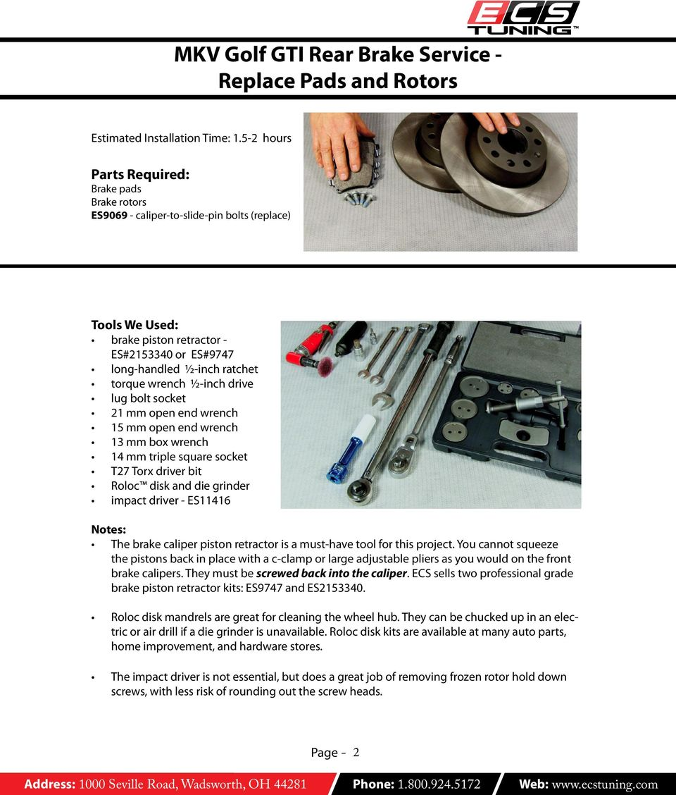 MKV Golf GTI Rear Brake Service - Replace Pads and Rotors - PDF