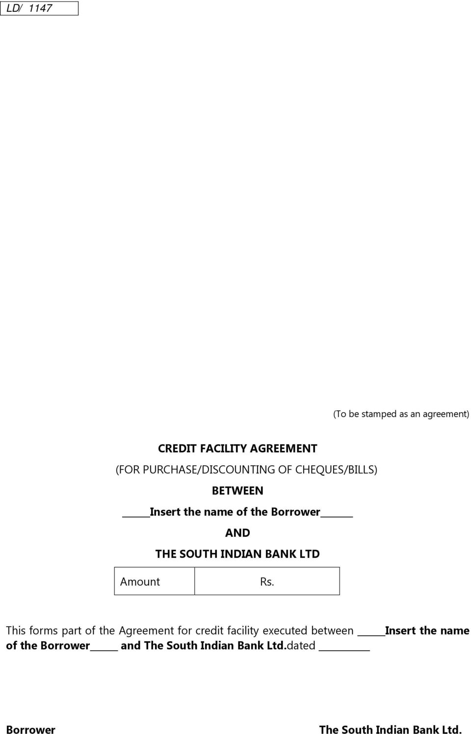 Credit Facility Agreement For Purchasediscounting Of Chequesbills