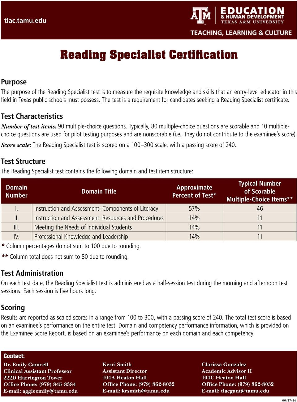 schools must possess. The test is a requirement for candidates seeking a Reading Specialist certificate. Test Characteristics Number of test items: 90 multiple-choice questions.