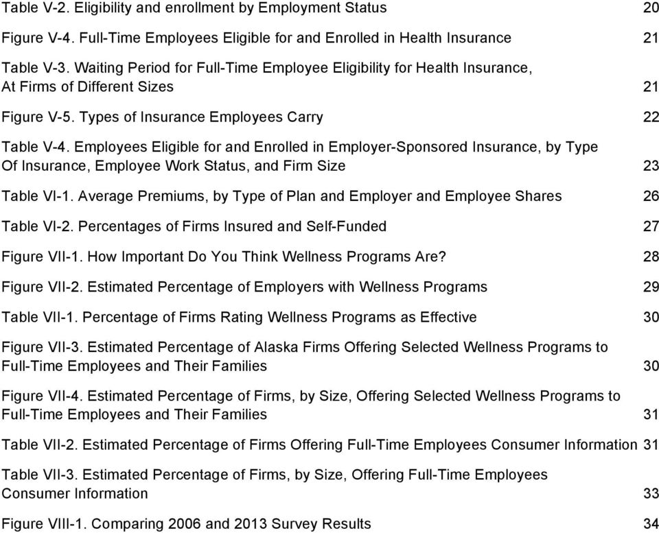 Employees Eligible for and Enrolled in Employer-Sponsored Insurance, by Type Of Insurance, Employee Work Status, and Firm Size 23 Table VI-1.