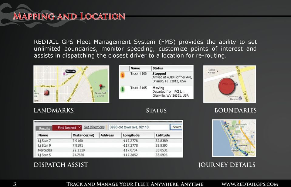 assists in dispatching the closest driver to a location for re-routing.