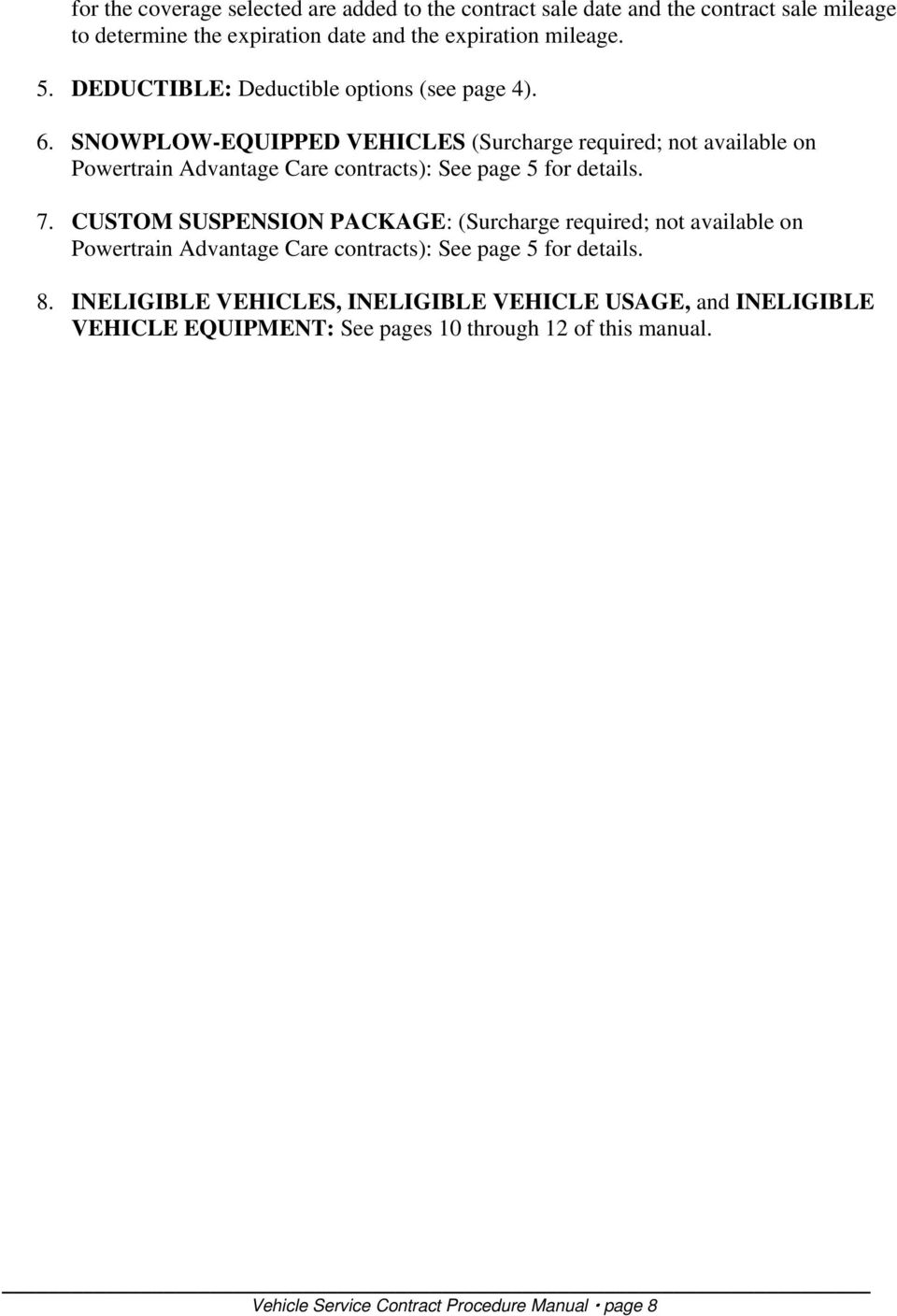 vehicle service contract procedure manual pdf
