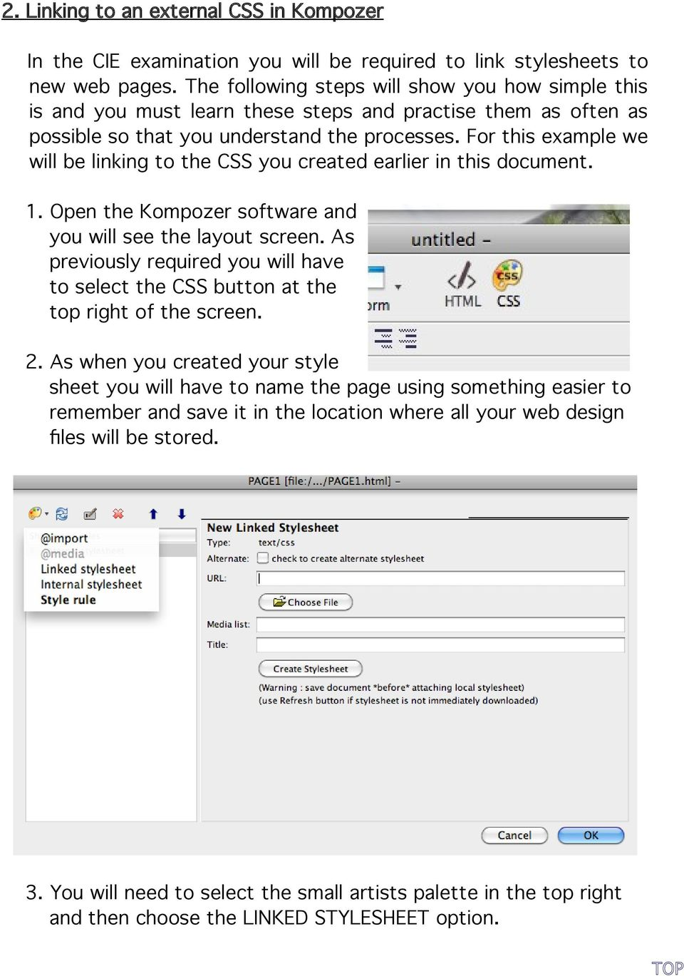 For this example we will be linking to the CSS you created earlier in this document. 1. Open the Kompozer software and you will see the layout screen.