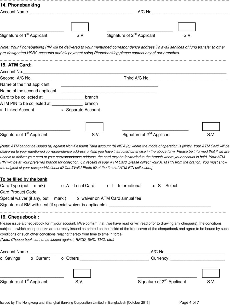Personal Account Opening Form - PDF