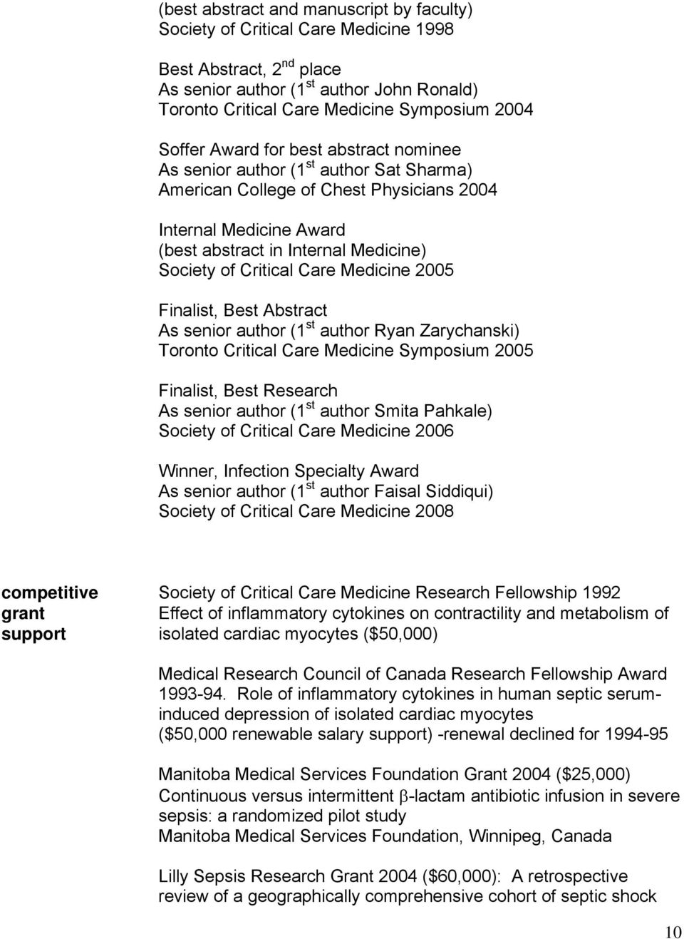 Section of Critical Care Medicine Section of Infectious