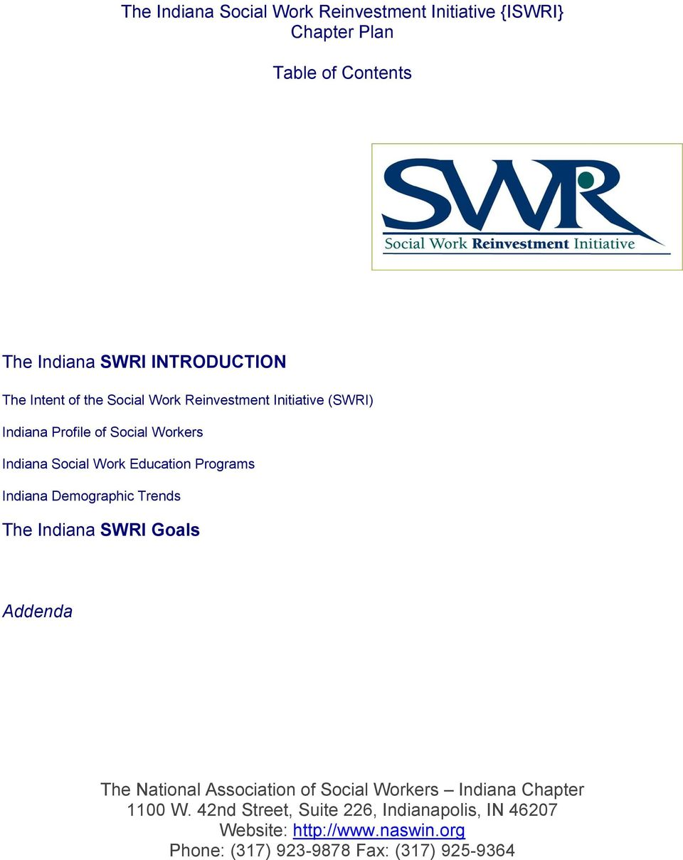 Programs Demographic Trends The SWRI Goals Addenda The National Association of Social Workers Chapter 1100