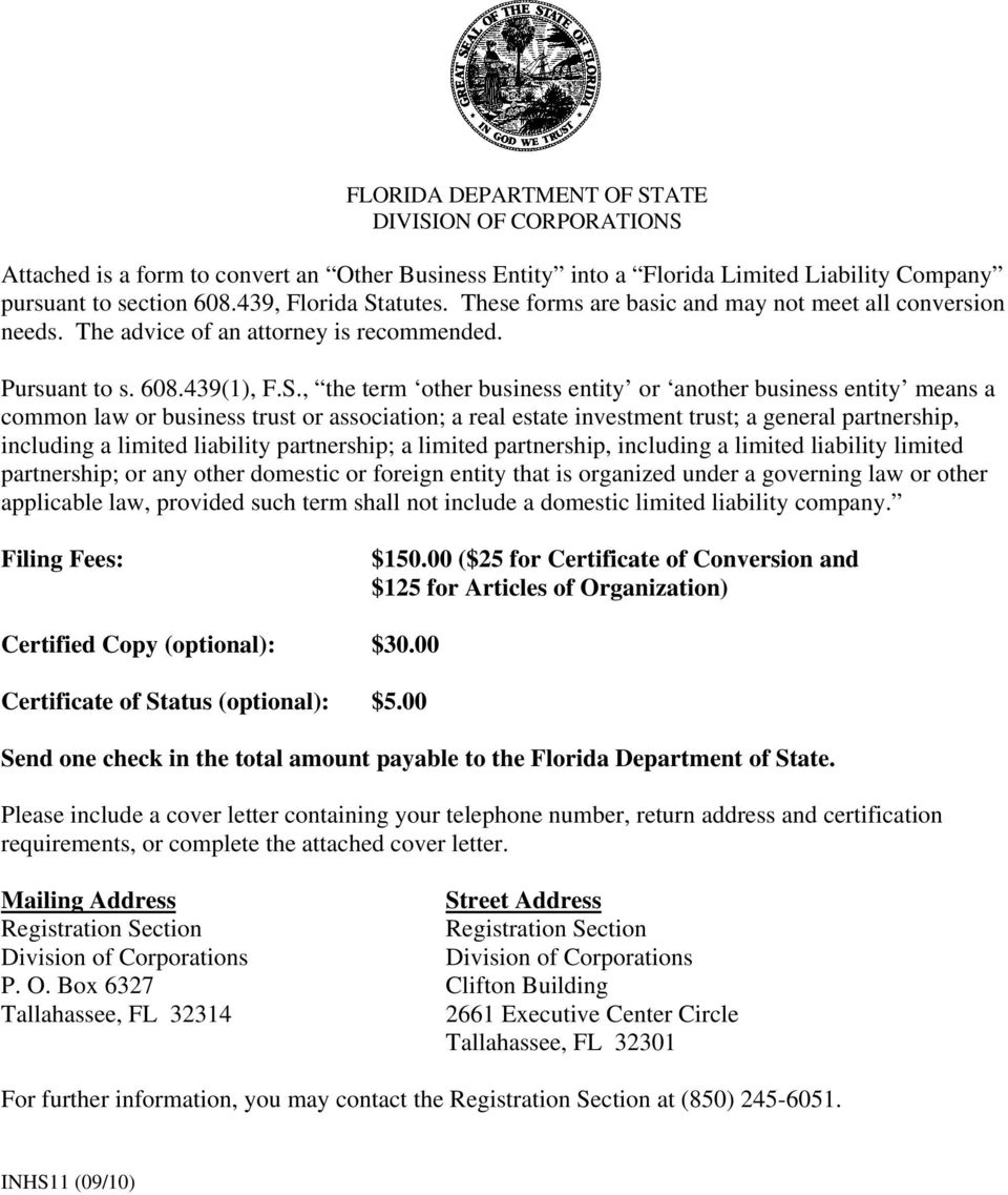 Florida Department Of State Division Of Corporations Pdf