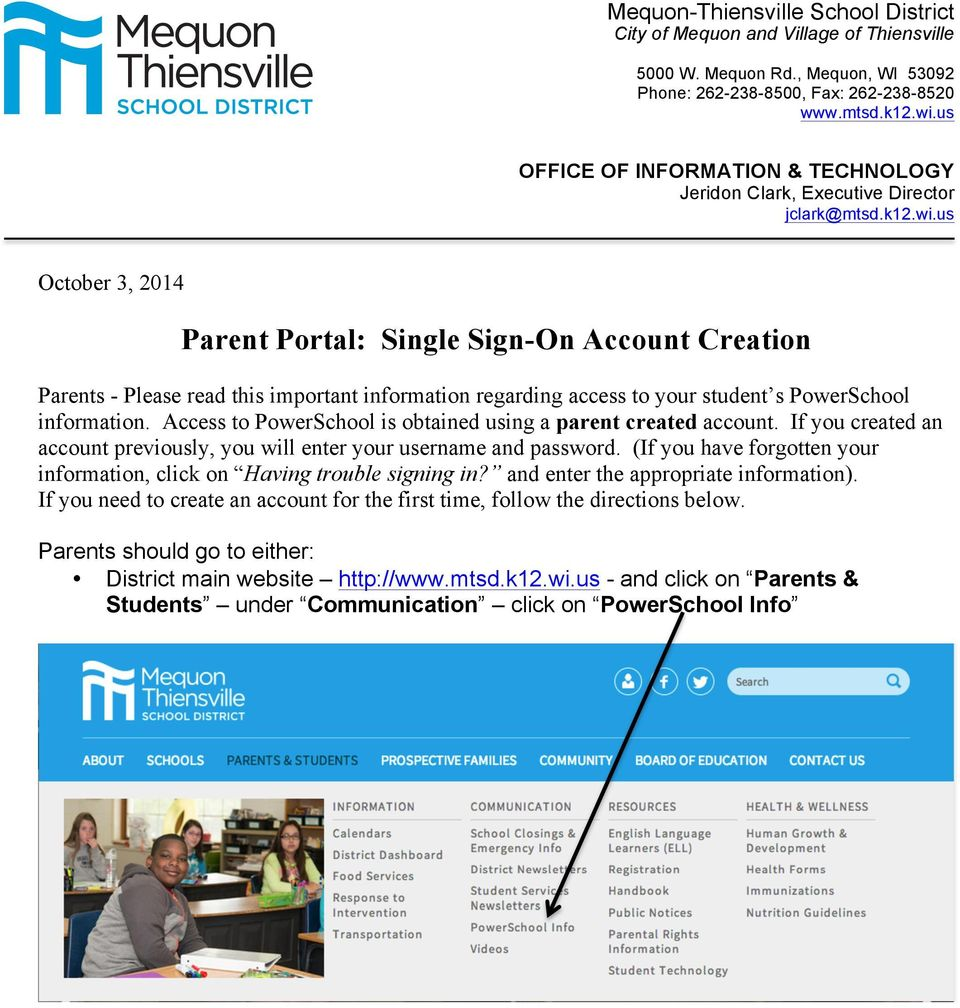 Parent Portal: Single Sign-On Account Creation - PDF