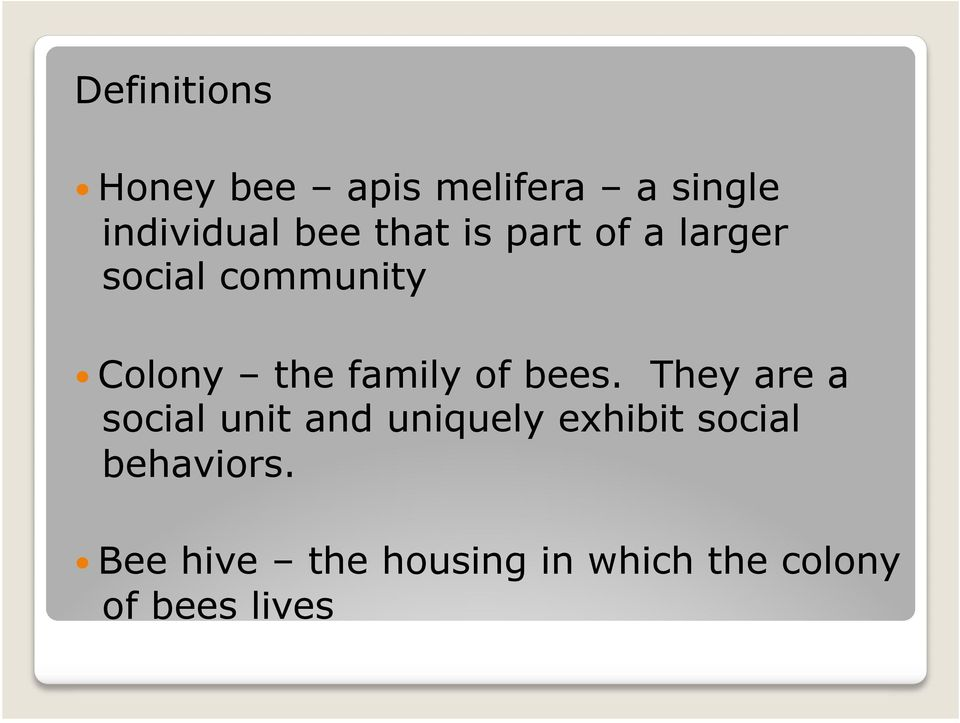 of a larger social community! Colony the family of bees.